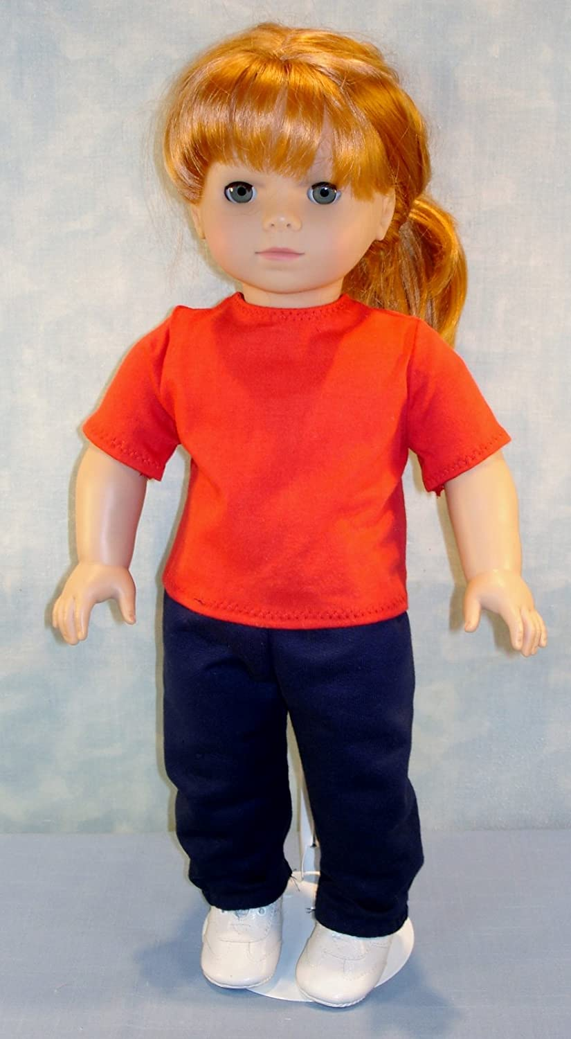 18 Inch Doll Clothes - Red T Shirt handmade by Jane Ellen to fit 18 inch dolls