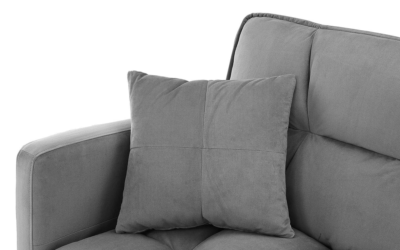 Modern Plush Tufted Velvet Splitback Living Room Futon Brown