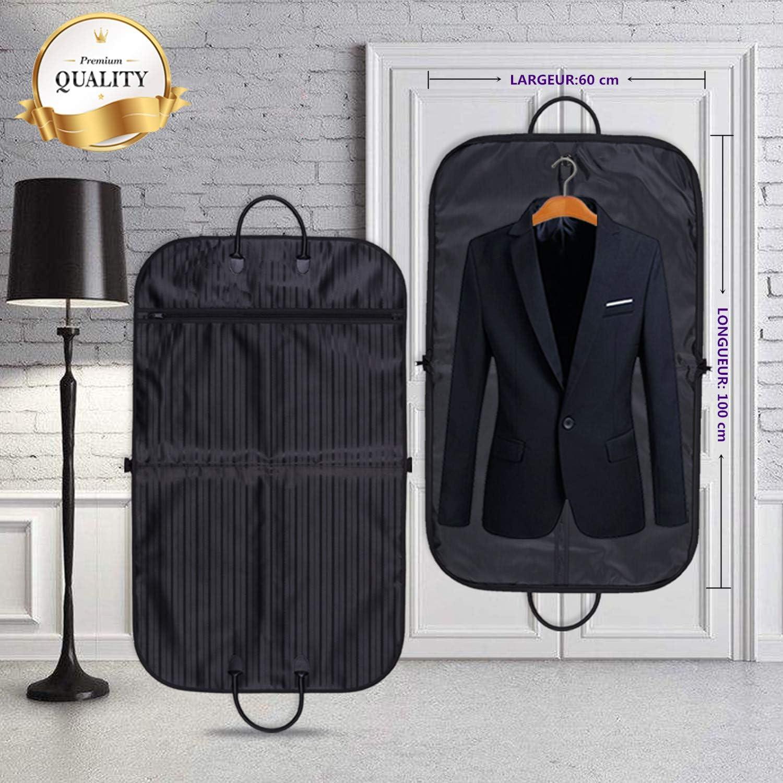 YLX Housse de Costume Voyage Pliable 100x60cm et 2 Cintre Pliant Cintre Plastique pour Voyage 5PCS Housse de Costume Voyage