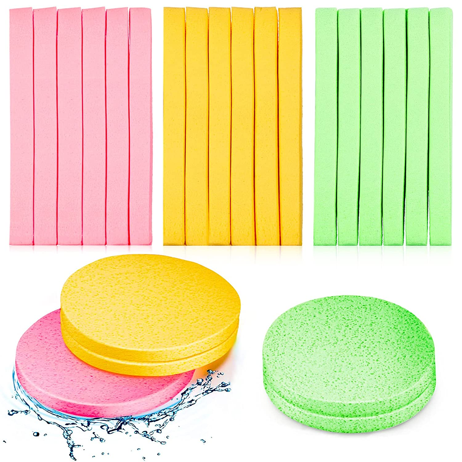 120 Pieces Compressed Facial Sponge Face Cleansing Sponge Makeup Removal Sponge Pad Exfoliating Wash Round Face Sponge (Pink, Yellow, Green)