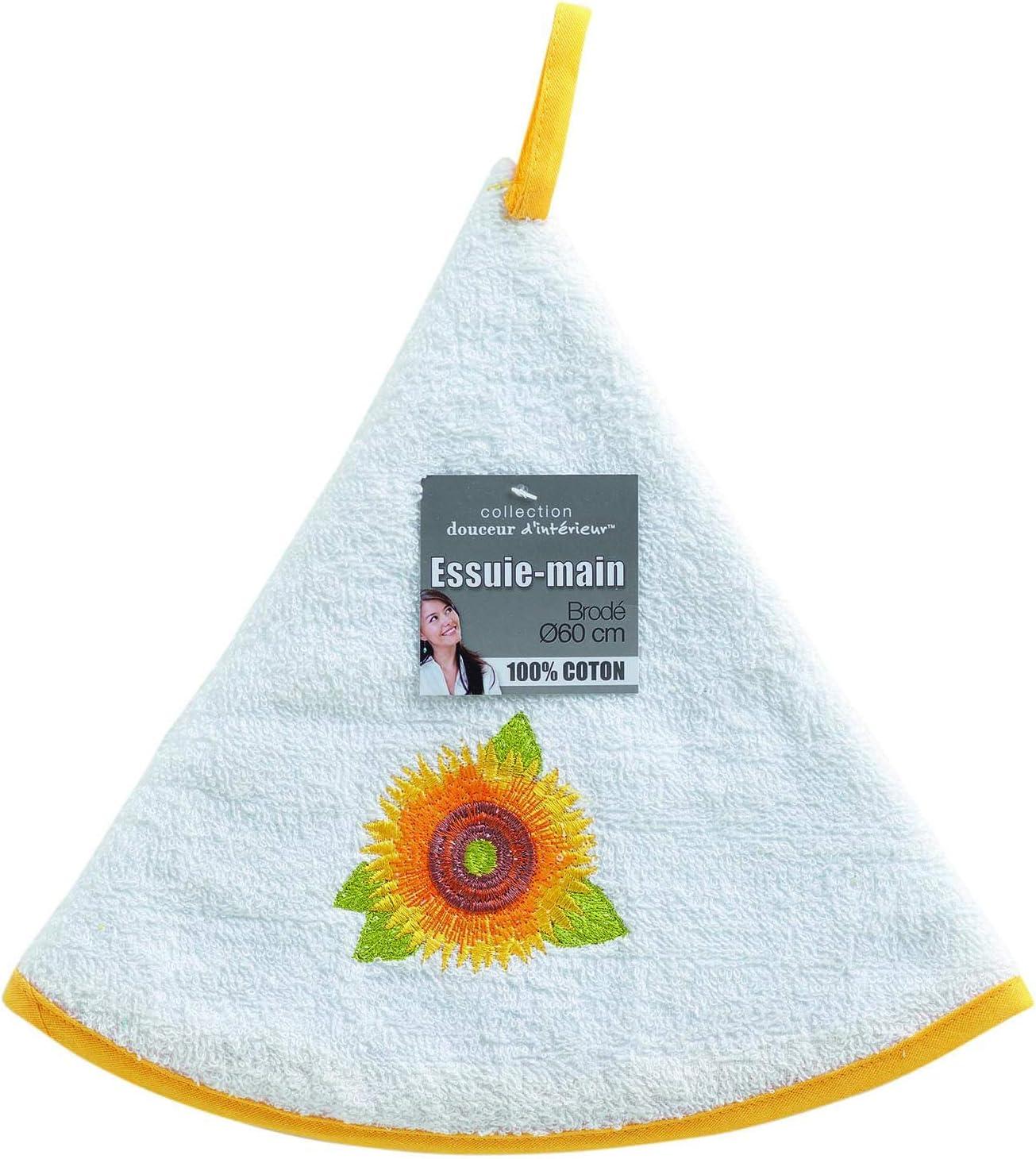 60cm eponge yellow flower blanc douceur dint/érieur essuie-main rond