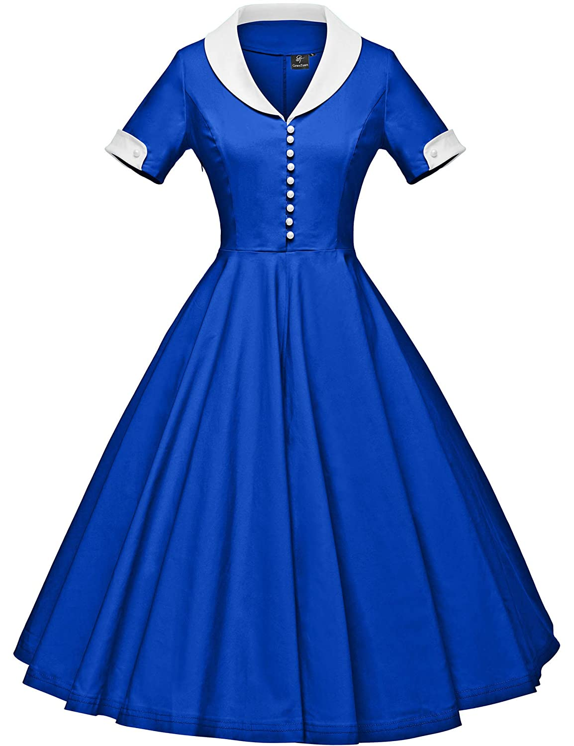 1950s Dresses, 50s Dresses | 1950s Style Dresses GownTown Womens 1950s Cape Collar Vintage Swing Stretchy Dresses $35.99 AT vintagedancer.com