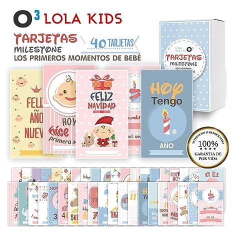 O³ Milestone Baby Cards Lola Kids – 40 Cartas En Español Para Primer Año De Bebé Con Caja De Regalo - Diseño Único | Tarjetas De Recuerdo - Tarjetas ...