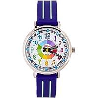 KIDDUS Montre Bracelet Éducative pour Enfants, garçon. Time Teacher Analogique avec Exercices. Mécanisme en Quartz Japonais. Facile d'Apprendre à Lire l'Heure