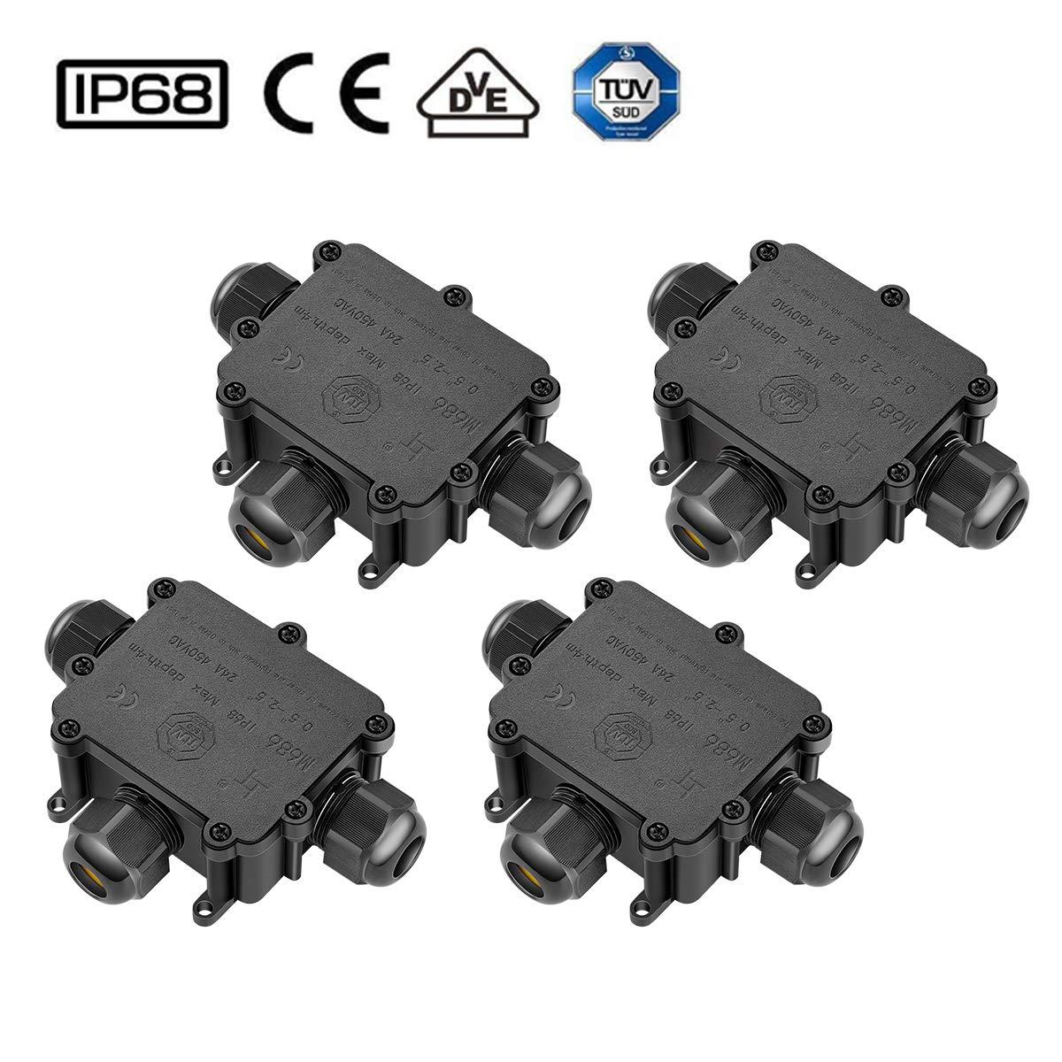 eSky24 2er T-Form Verbindungsmuffe 5-Polige Kabel Verteilersdose 3-Wege Anschlussdose von 1 Eingang zu 2 Ausg/änge f/ür /Ø4-14mm Aufputz//Unterputz f/ür Erdkabel Kabelverbinder Wasserdicht IP68