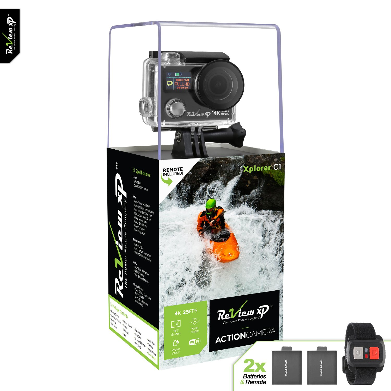 Review XP 4K Wi-Fi Waterproof Sports Action Camera 12MP 25fps HD Video Underwater Camcorder 170° Wide Angle Dual Screen 2 Batteries Accessories Kit Remote Control – Black