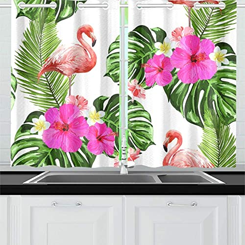 YUMOING Summer Tropical Flamingo Exotic Kitchen Curtains Window Curtain Tiers for Caf , Bath, Laundry, Living Room Bedroom 26 X 39 Inch 2 Pieces