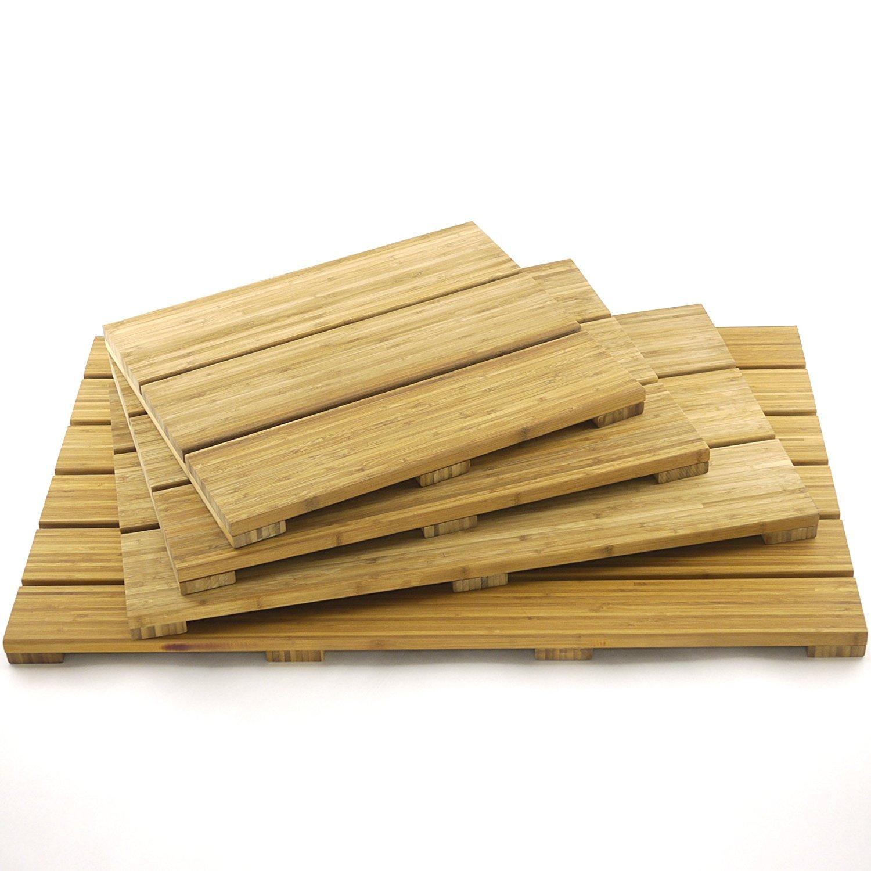Amazoncom Bamboomn Brand  Spa Style Raised Bamboo Bathmat