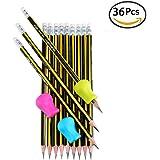 Foonii® 36 pezzi matite in grafite HB+ 3 pezzi Impugnature per matita, matite da disegno e schizzi - Carboncini e grafiti di alta qualità, ideali per la scuola e per i progetti d'arte professionali