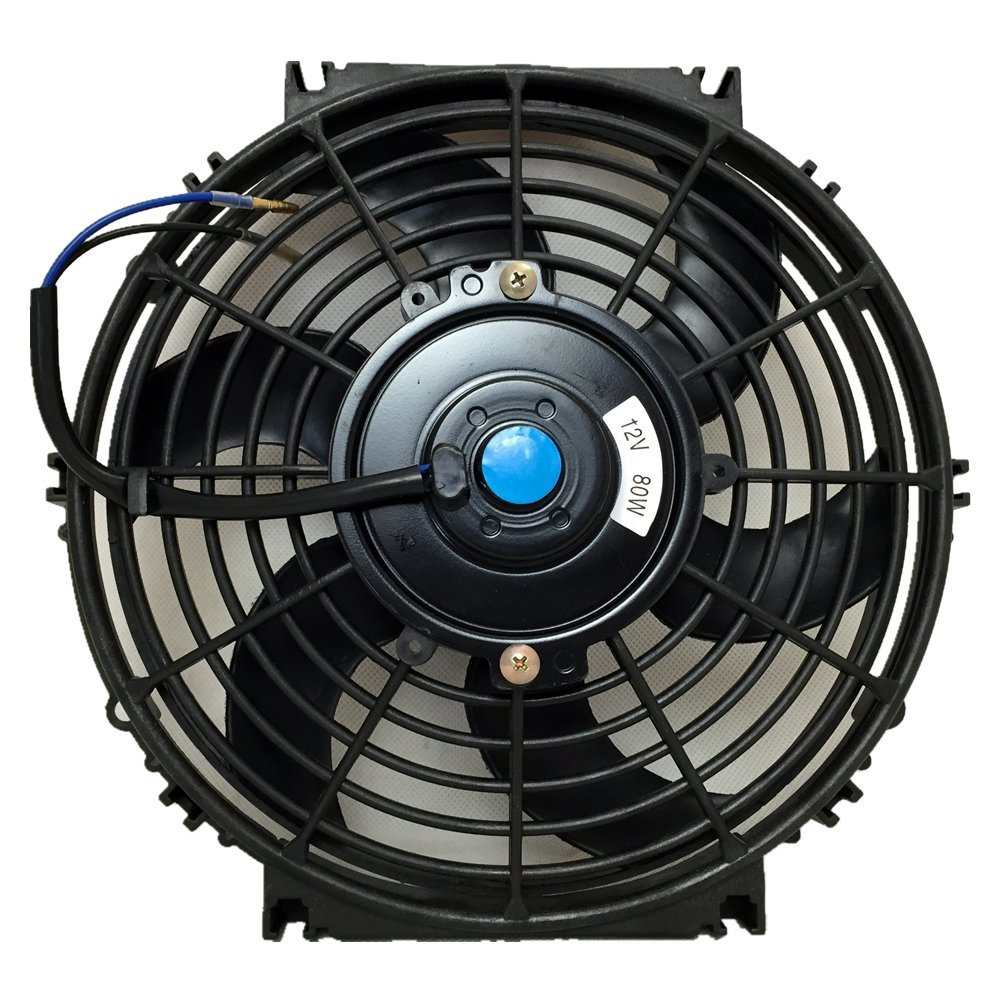 12 Inch, Blue UPGR8 Universal High Performance 12V Slim Electric Cooling Radiator Fan With Fan Mounting Kit