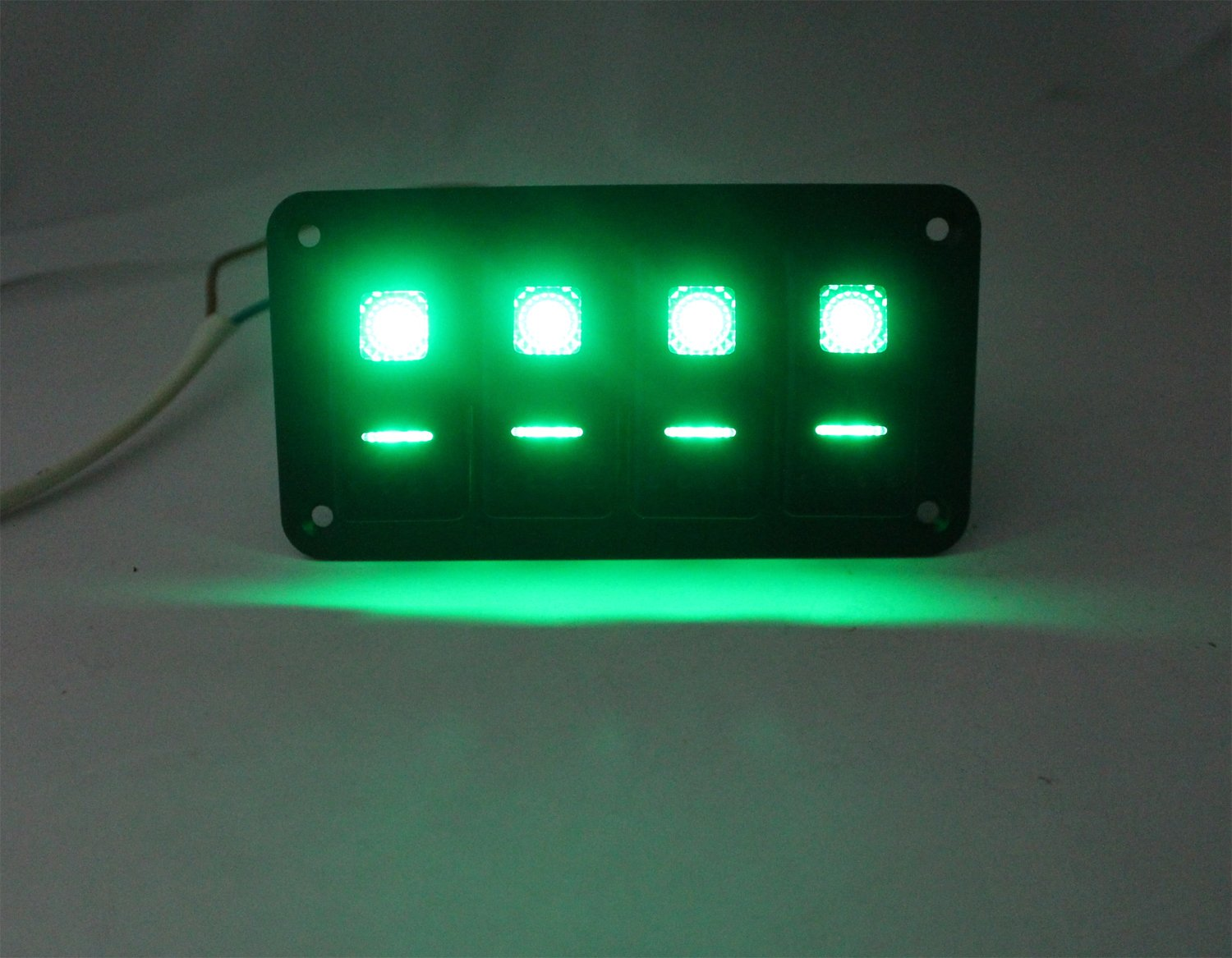 Fxc Rocker Switch Aluminum Panel 4 Gang Toggle Switches Carling 12 Volt Boat Marine Dash 5 Pin On Off 2 Led Backlit For Car Green Sports Outdoors