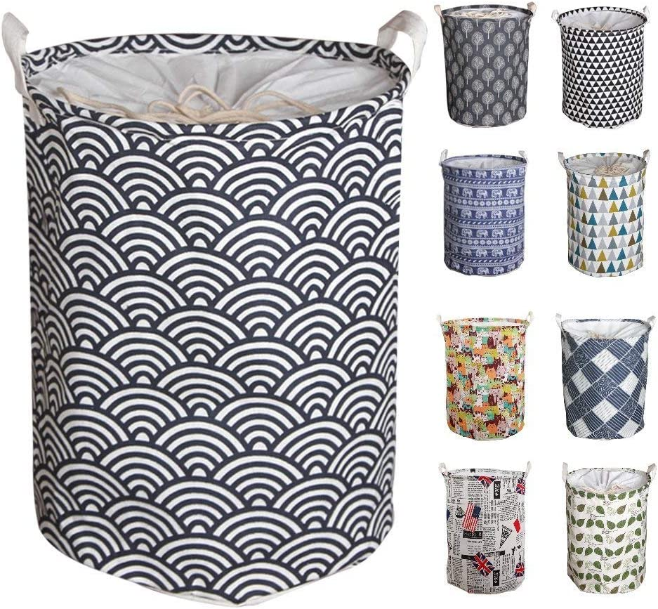 """Y-Step 17.7"""" Large Pop-Up Laundry Hampers Drawstring Waterproof Round Cotton Linen Collapsible Storage Basket (Water ripple)"""