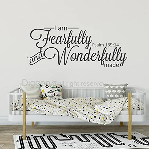 I AM FEARFULLY /& WONDERFULLY MADE PSALM VINYL WALL DECAL HOME DECOR QUOTE