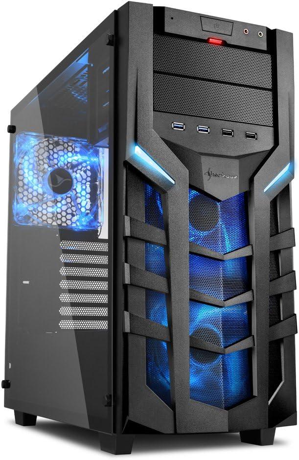 Sharkoon DG7000-G – Caja de Ordenador, PC Gaming, Semitorre ATX, Negro/Azul