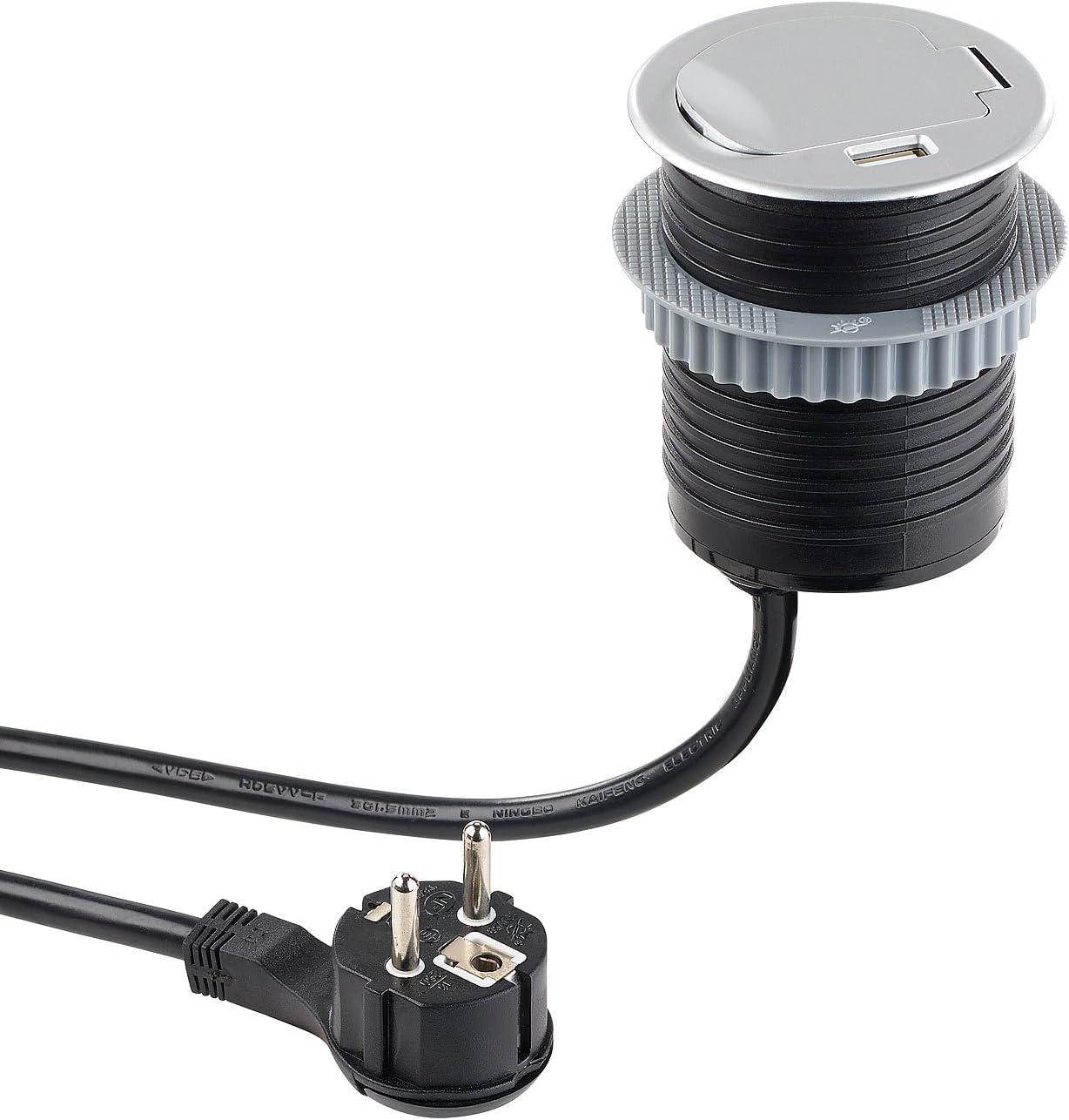 revolt Tisch Einbau Steckdose: Tisch Einbausteckdose mit USB & Standard Kabeldurchführungen, Ø 60 mm (Steckdose Tischplatte)