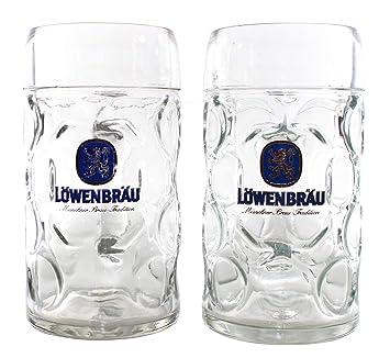 6 Löwenbräu München Bierkrüge mit Henkel 0,5 Liter Biergläser