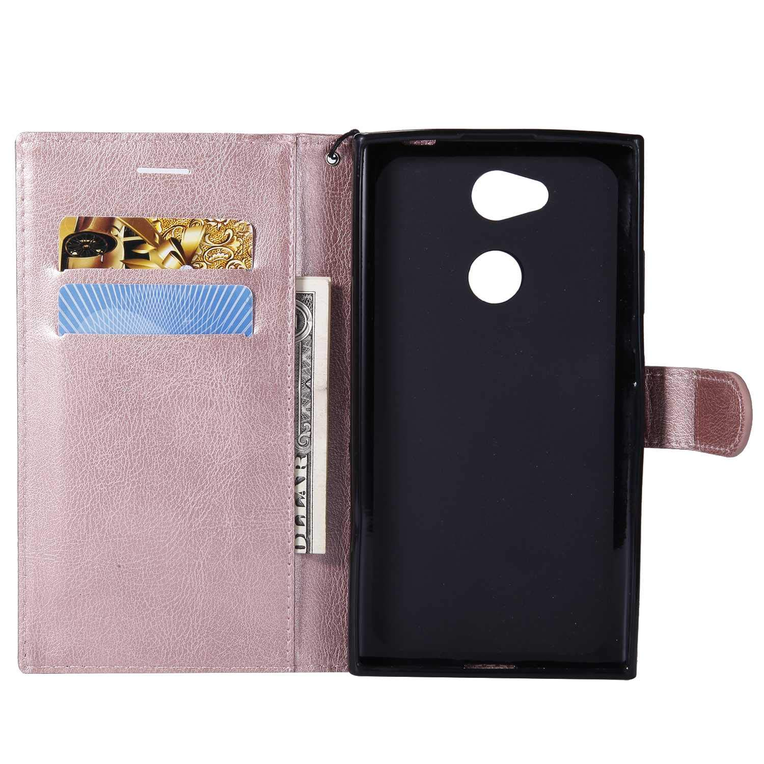Sony Xperia L2 Wallet Case, CUSKING Premium Leather Cover with Silicone Inner Case for Sony Xperia L2 [Card Holder] [Magnetic Closure] [Hand Strap] - Rose Gold by CUSKING (Image #3)