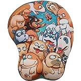 EXCO–3D Cartoon Tapis de souris ergonomique avec repose poignet en gel et rembourrage dog