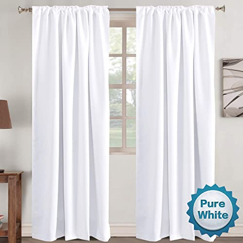 Window Treatment Curtains Insulated Thermal White Curtains Blackout Back Tab Rod- Pocket Room Darkening Curtains, Pure White, Solid Curtains for Living Room, 52 W x 96 L inch Set of 2 Panels