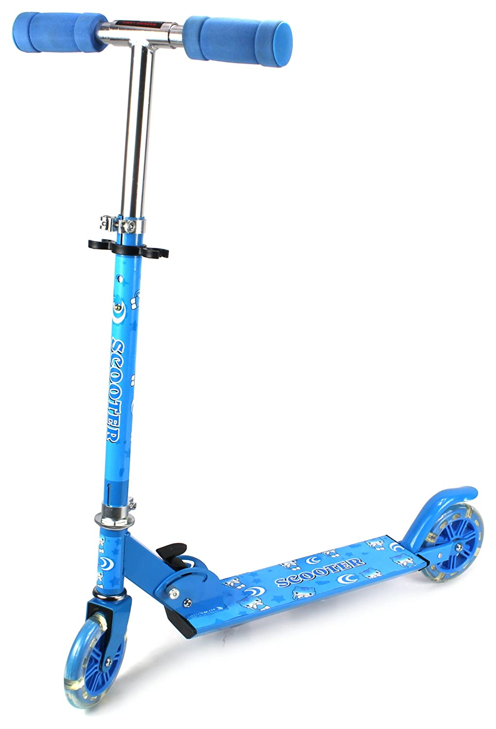Fun Cat Children's Two Wheeled Metal Toy Kick Scooter w/ Light Up Wheels, Adjustable Handlebar Height, Rear Fender Brake (Blue)