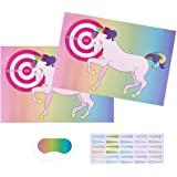 Pin the Horn on the Unicorn Party Game Activity for 30 - Deluxe Game Set Includes 2 Count Posters 24.4 x 16.5 Inches Each, 30 Horn Stickers, and 1 Blindfold Mask 7 x 3.1 Inches