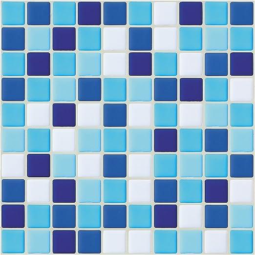 6 Pcs Purple Blue Mosaic Self-adhesive Bathroom Kitchen Wall Stair Tile Sticker