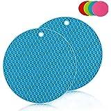 Pot Holders Silicon Coaster Trivet Mat Flexible Jar Opener Heat Resistant Pads Non Slip Flexible Durable Dishwasher Safe Silicone Kitchen Tool (2 pieces)(Blue)
