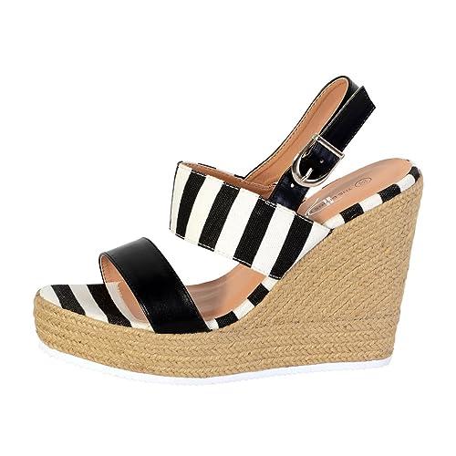 550e35c2b25 The Divine Factory Sandales Compensée Femme Noir  Amazon.fr  Chaussures et  Sacs