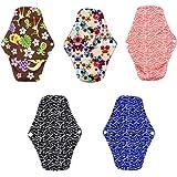5pcs Menstrual Panty Pad, YIGO Washable Sanitary Towel Cloth Enstrual Pads Washable Sanitary Pad Reusable Sanitary Napkin Bamboo Menstrual Pads Postpartum Nursing Pads 10''x7.09''(5pcs, Size: 10''x7.09'')