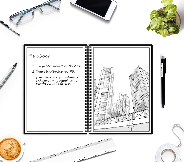 RUBbook Smart Erasble Reusable Notebook, Environmentally Friendly,  Wirebound Spiral Notebook, Line Page & Blank Page, Erasable Pen, Scan &  Share, A5