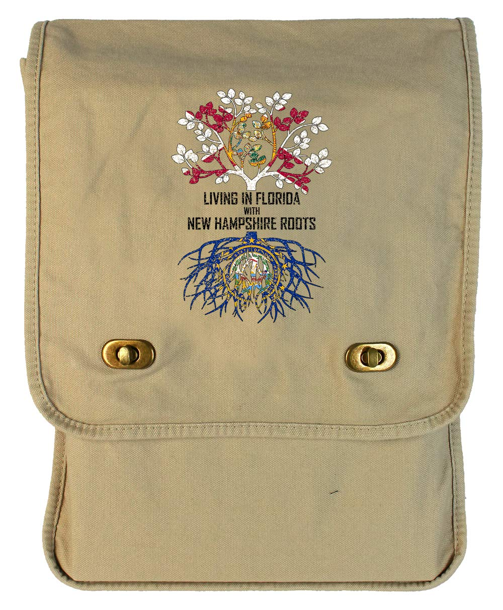 Tenacitee Living In Florida with New Hampshire Roots Grey Brushed Canvas Messenger Bag