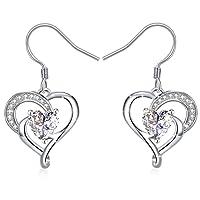 Collier, J.Rosée Argent 925 Bijoux Femme/Fille 5A Zirconium cubique Blanc, Pendentif coeur, Chaîne 45+5cm Cadeau parfait L'Ange gardien