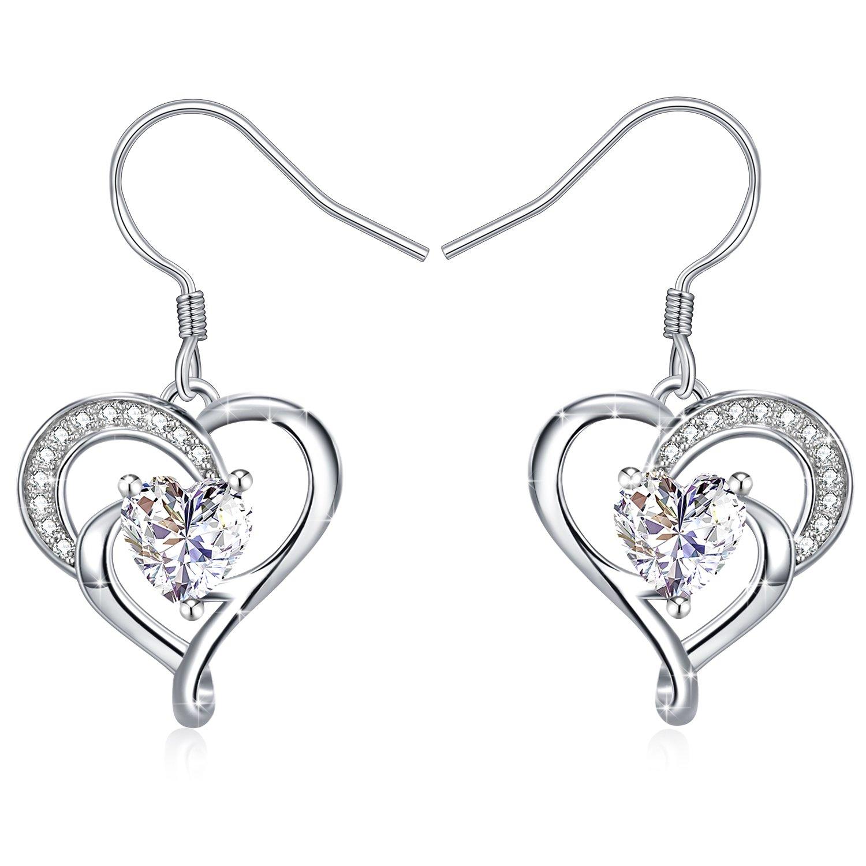 J.Rosée Women Heart Earrings 925 Sterling Silver 3A Cubic Zirconia Dangle Earrings Hook Fine Jewelry Heart True Love,Birthday Gifts JR-8333
