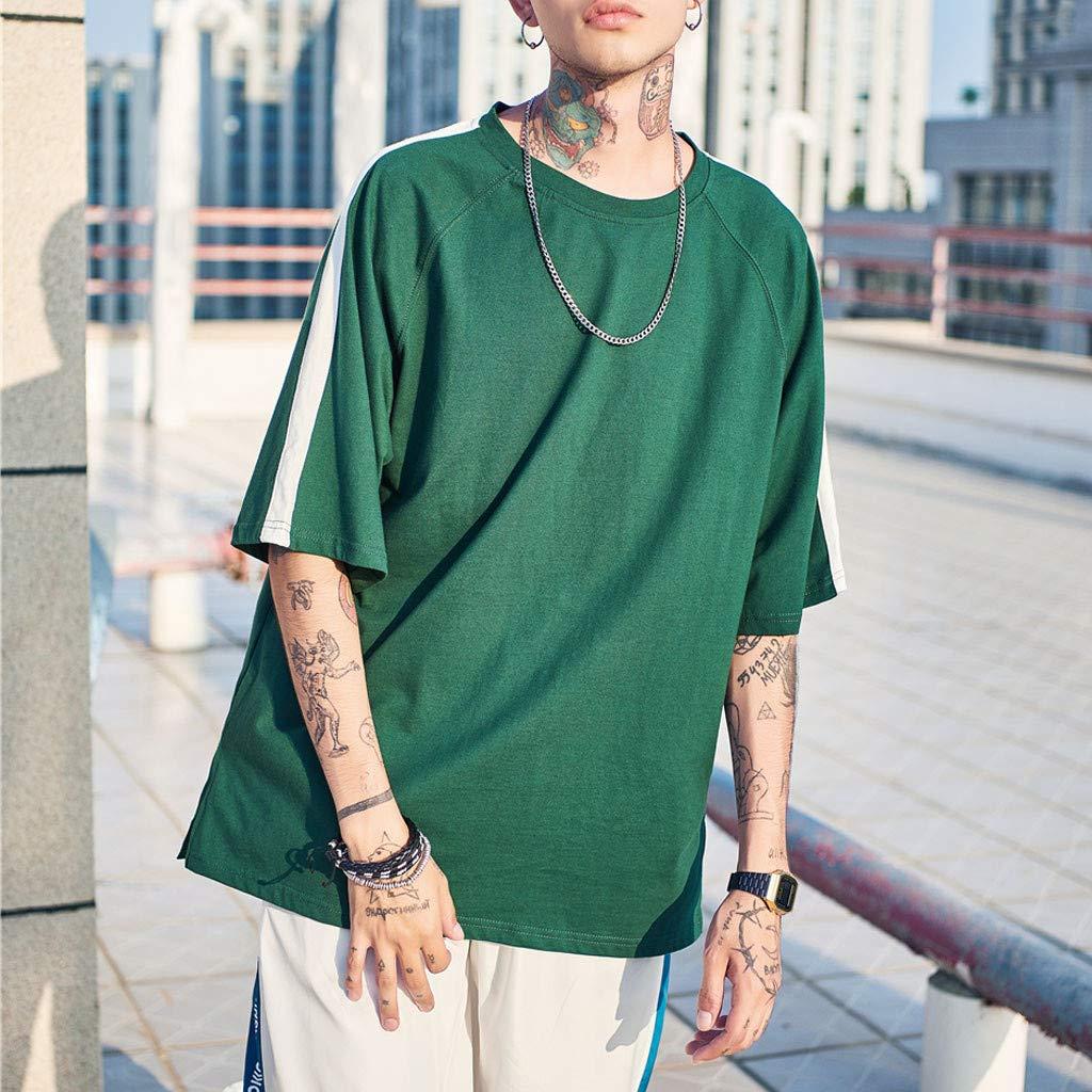 WYTong Loose-Fit Short Sleeve Pullover Summer Fashion Mens Summer Short Sleeve Panel T-Shirt Top