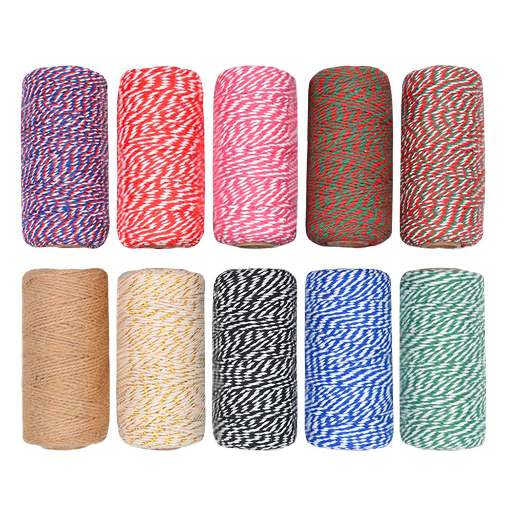 CUGBO 10 Rolls 1000 Yard Bakers Twine, 2mm Cotton Colorful Packing Hanging String for Kitchen Cooking, Tying Cake and Pastry Boxes, DIY Arts Crafts and Christmas Gifts Wrapping by CUGBO