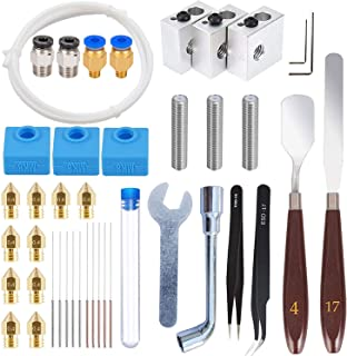 HAWKUNG 41 Pcs 3D Printer Accessories Kit, 10 Nozzle + 3 Heater Block + 3 Throat Tube + 3 V6 Silicone Socks + 10 Cleaning Needle + Other Parts for V6 3D Printer 1.75mm Extruder Hotend