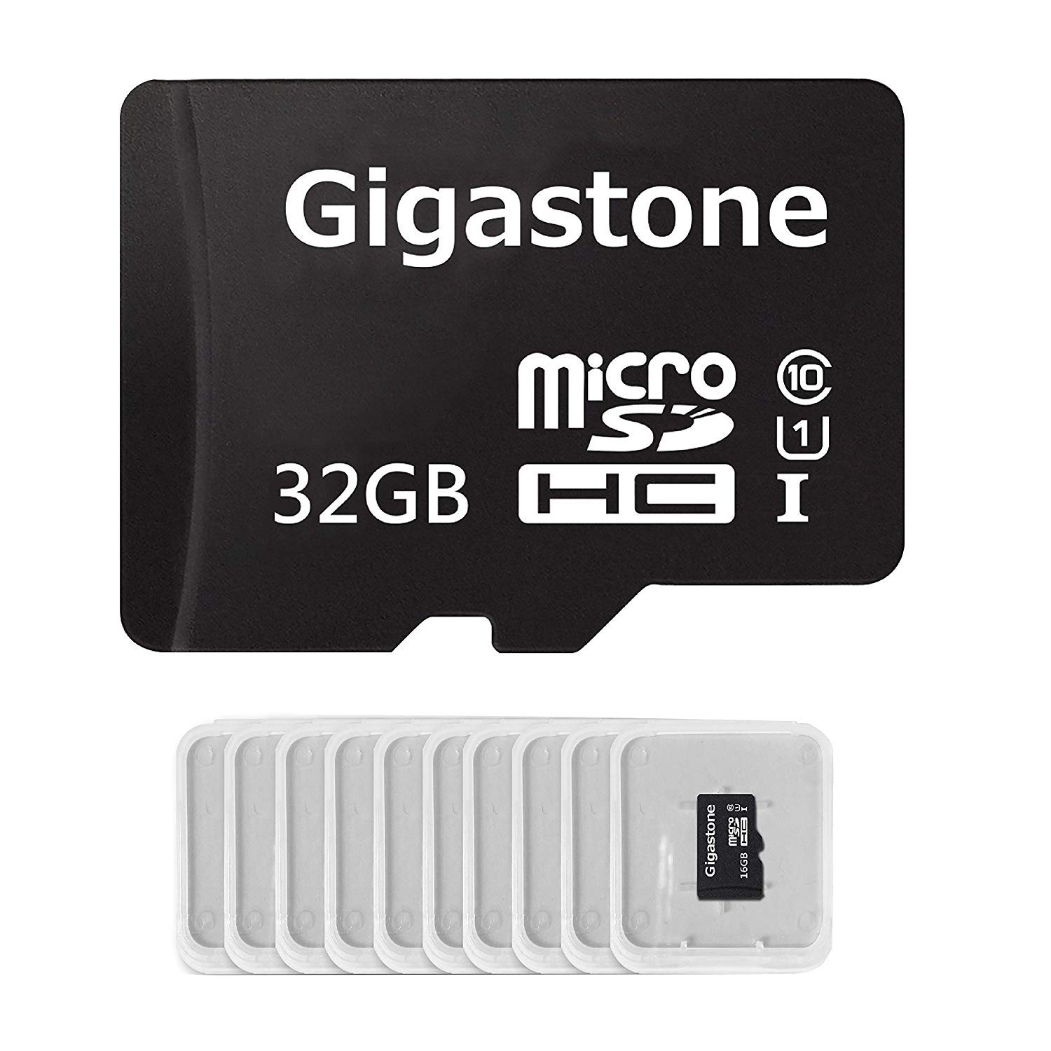 Gigastone Micro SD Card 32GB 10-Pack Micro SDHC U1 C10 with Mini Case High Speed Memory Card Class10 Uhs Full HD Video Nintendo Gopro Camera Samsung Canon Nikon DJI Drone- Black by Gigastone