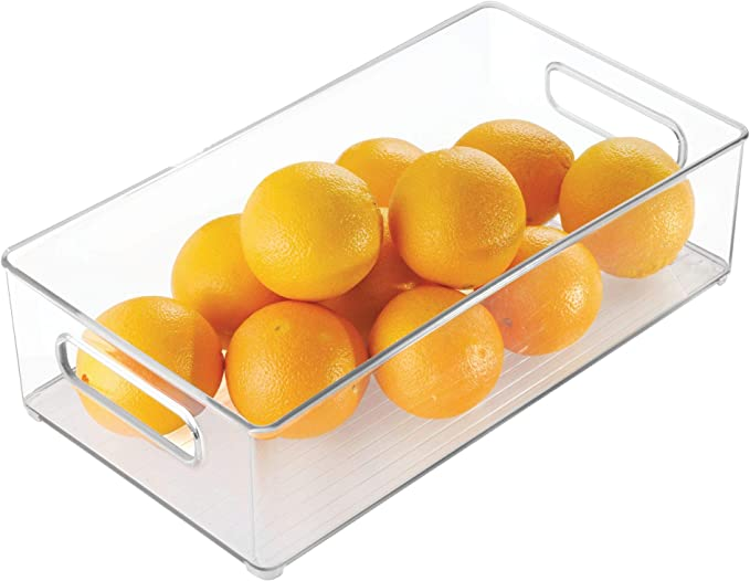 Amazon Com Idesign Plastic Portable Deep Storage Bin With Handles For Organizing Refrigerator Freezer Pantry Bpa Free Clear Home Kitchen