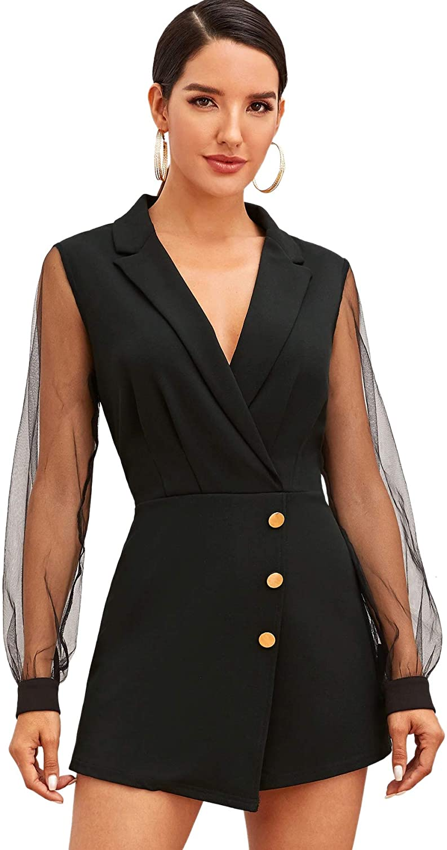 SheIn Women's Notch Collar Mesh Sleeve Button Wrap Trim Jumpsuit Short Wide Leg Romper