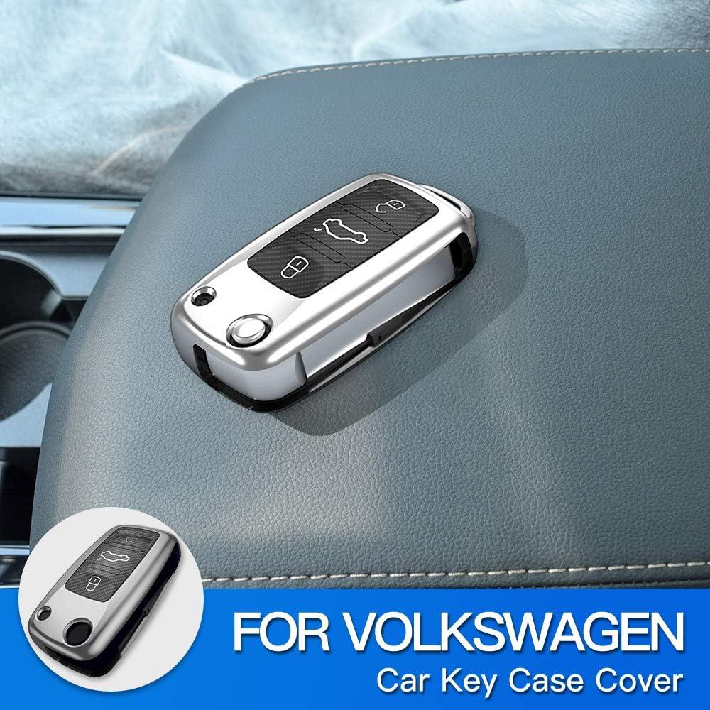 AIRSPEED Gray Key Fob Cover Shell for Volkswagen VW Polo Lavda Jetta Beetle Passat B5 B6 B7 Bora Santana Tiguan