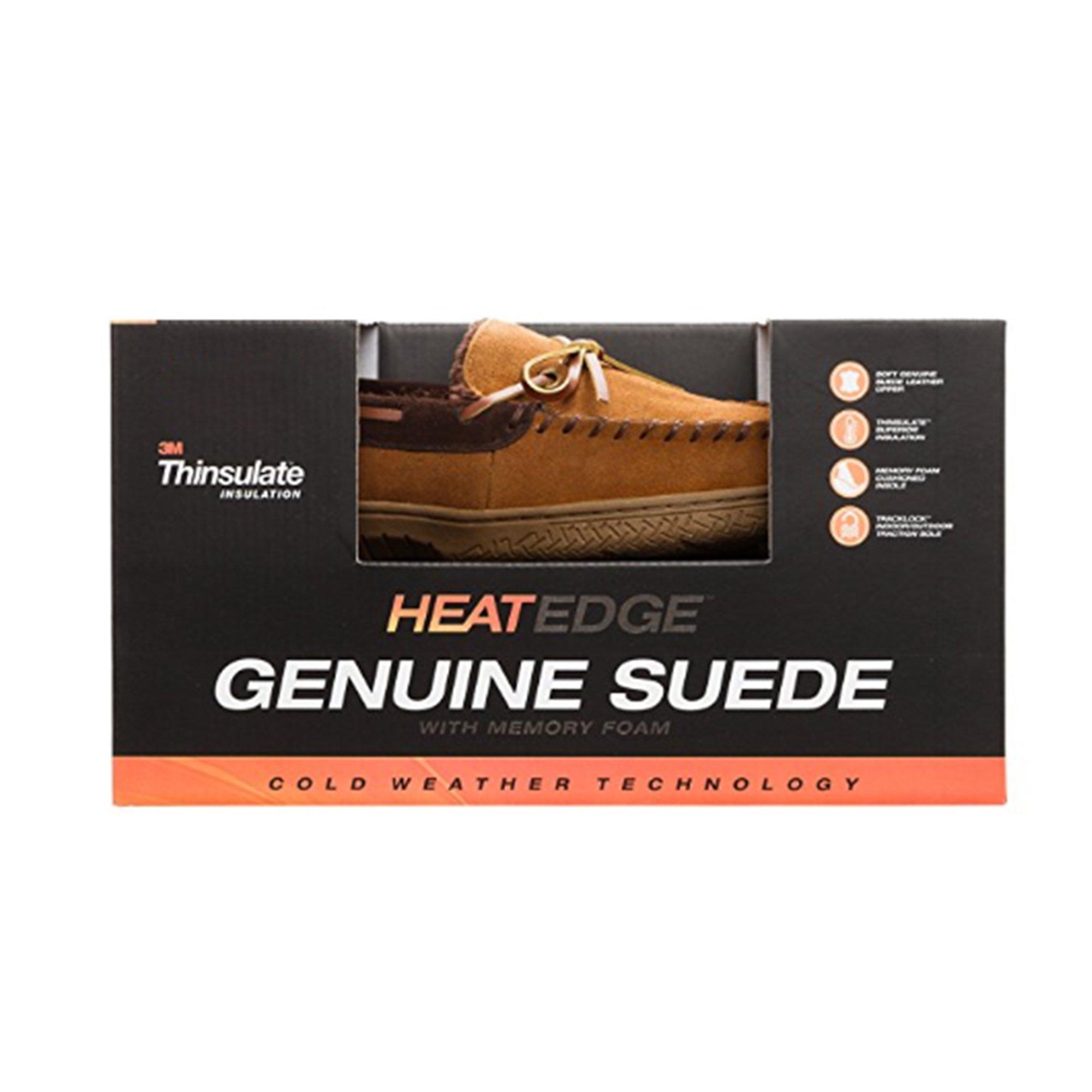 Heat Edge Mens Memory Foam Suede Slip on Indoor/Outdoor Moccasin Slipper Shoe (11, Tan) by Heat Edge (Image #6)