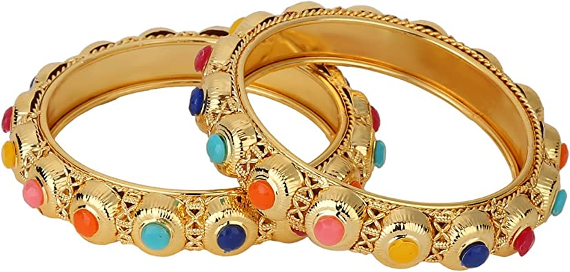 Efulgenz Indian Bangles Bollywood Traditional Ethnic 18 K Gold Plated Faux Rhinestone Bangle Bracelets Bridal Wedding Jewelry for Women