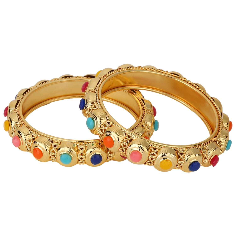 Efulgenz Indian Bangles Bollywood Traditional Ethnic 18 K Gold Plated Faux Rhinestone Bangle Bracelets Bridal Wedding Jewelry For Women