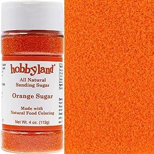 Hobbyland Sanding Sugar (Orange Sugar, 4 oz) Handcrafted with All Natural Food Coloring