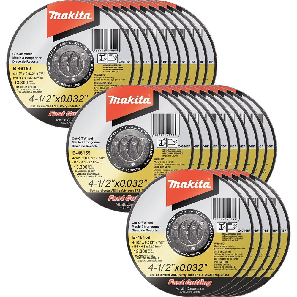 Makita B-46159-25 4-1/2'' x .032'' x 7/8'' Ultra Thin Cut-Off Wheel (25 Pack), Stainless by Makita