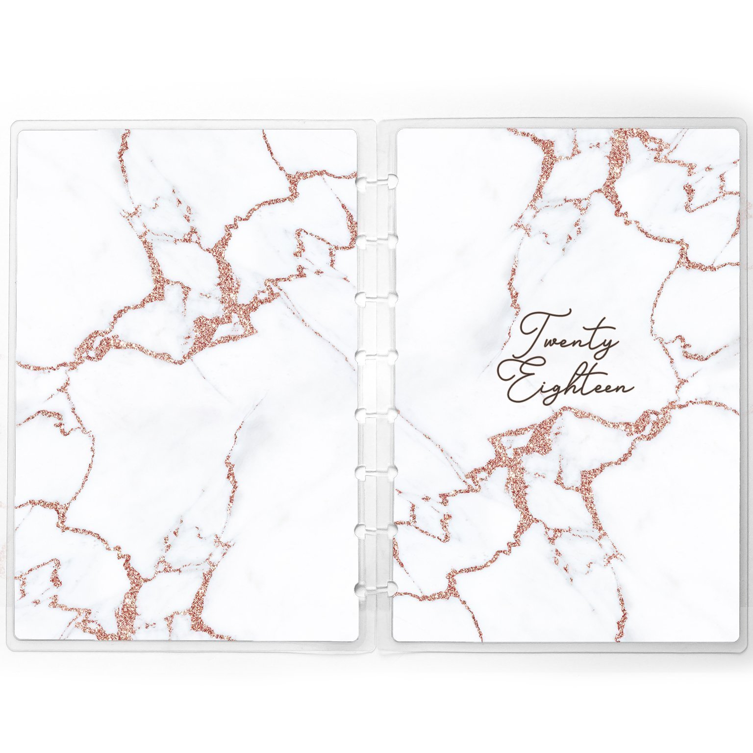 White Marble Planner Cover for use with Staples Arc Happy Planner TUL with Faux Rose Gold | Personalized