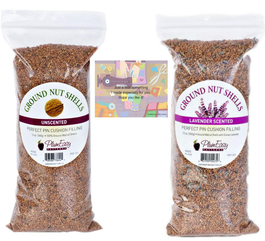 Ground Walnut Shells for Pincushions-11 oz Unscented and 11 oz Lavender Scented-2 Bags Total Plus 2 Mini Gift Card by Bigdream