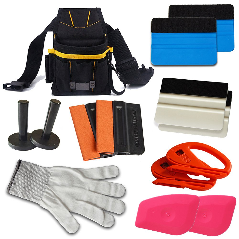 Ehdis Automotive Window Tinting Kits: Tool Pouch, Felt Squeegee, Magnet Holder, Snitty Vinyl Cutter, Cut Resistant Gloves, Removing Pink Scraper