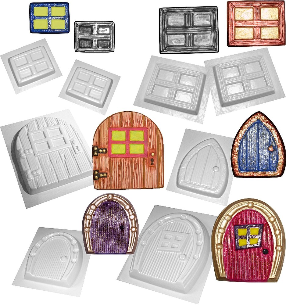 Fairy Door and Window Moulds Set of 8 Concrete or Plaster Molds dennycraftmoulds.co.uk
