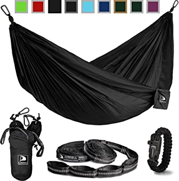 flagship x double camping hammock with tree straps and survival bracelet fire starter  for amazon     flagship x double camping hammock with tree straps      rh   amazon